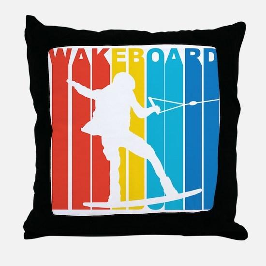 Retro Wakeboard Throw Pillow
