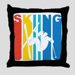 Retro Skiing Throw Pillow