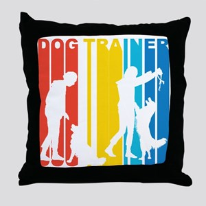 Retro Dog Trainer Throw Pillow