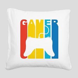 Retro Gamer Square Canvas Pillow