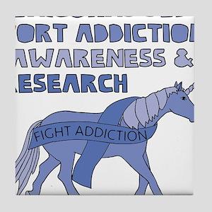 Unicorns Support Addiction Awareness Tile Coaster