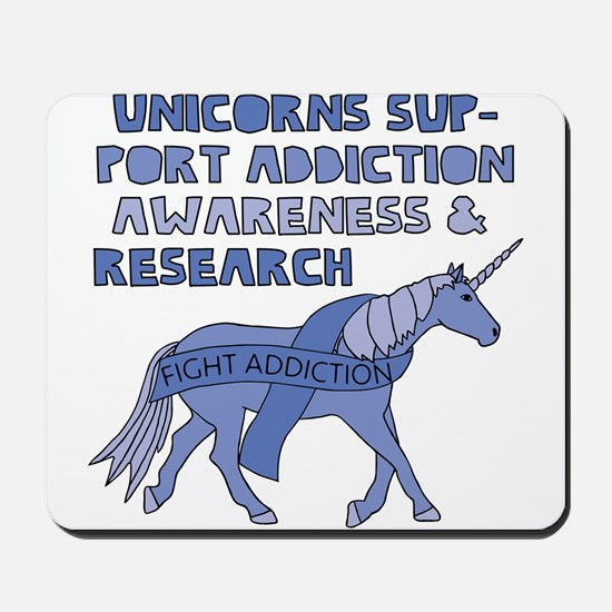 Unicorns Support Addiction Awareness Mousepad