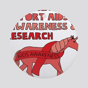 Unicorns Support Aids Awareness & R Round Ornament