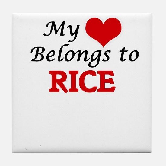 My Heart Belongs to Rice Massachusett Tile Coaster