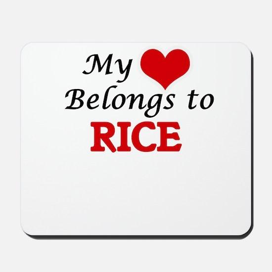 My Heart Belongs to Rice Massachusetts Mousepad