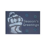 Santa Season's Greetings Rectangle Magnet (100 pac