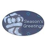 Santa Season's Greetings Oval Sticker