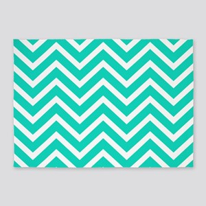 Teal Blue Chevron Pattern 5 X7 Area Rug