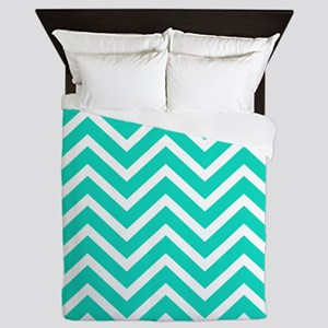 Teal Blue Chevron Pattern Queen Duvet