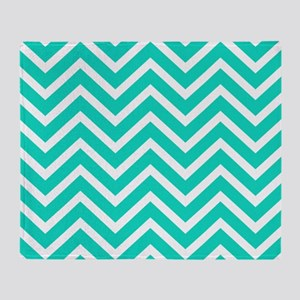 Teal Blue Chevron Pattern Throw Blanket