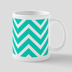 Teal Blue Chevron Pattern Mugs