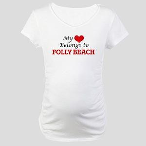 My Heart Belongs to Folly Beach Maternity T-Shirt