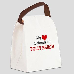 My Heart Belongs to Folly Beach S Canvas Lunch Bag