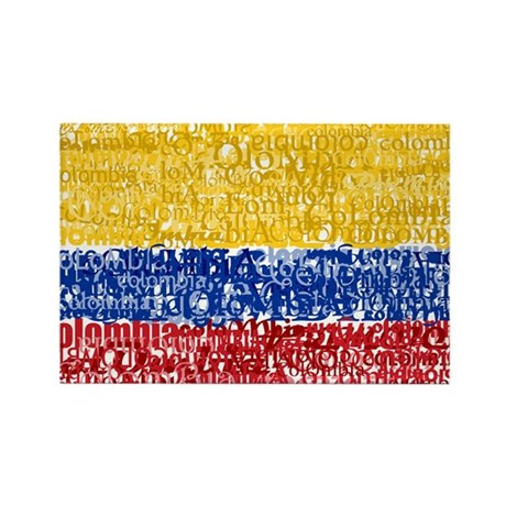 Textual Colombia Rectangle Magnet