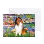 Lilies (2)/Collie (1S) Greeting Cards (Pk of 20)