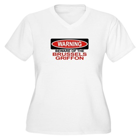 BRUSSELS GRIFFON Womes Plus-Size V-Neck T-Shirt