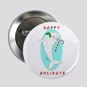 "Christmas Beluga 2.25"" Button"