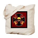 Red cross and flames Tote Bag