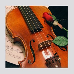 Violin & Rose Tile Coaster