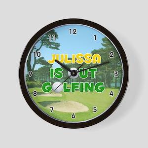 Julissa is Out Golfing (Gold) Golf Wall Clock