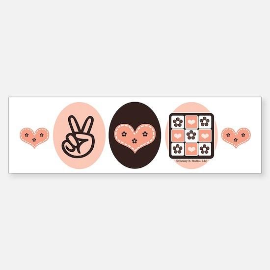 Peace Love Quilt Quilting Bumper Bumper Bumper Sticker