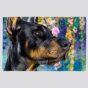 Doberman Painting 4' X 6' Rug