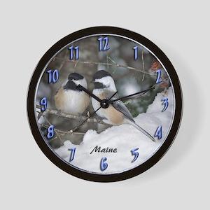 2 Chickadees Wall Clock