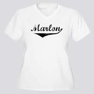 Marlon Vintage (Black) Women's Plus Size V-Neck T-