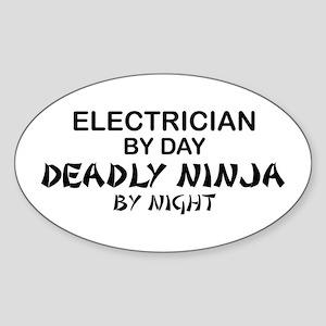 Electrician Deadly Ninja Oval Sticker