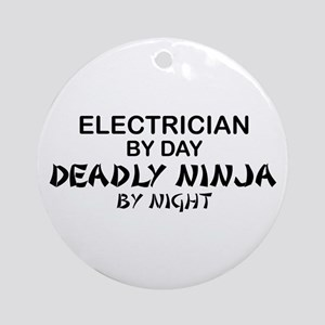 Electrician Deadly Ninja Ornament (Round)