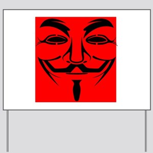 Red Anonymous Mask Yard Sign
