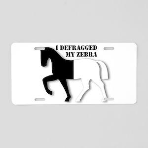 Defragged Zebra Aluminum License Plate