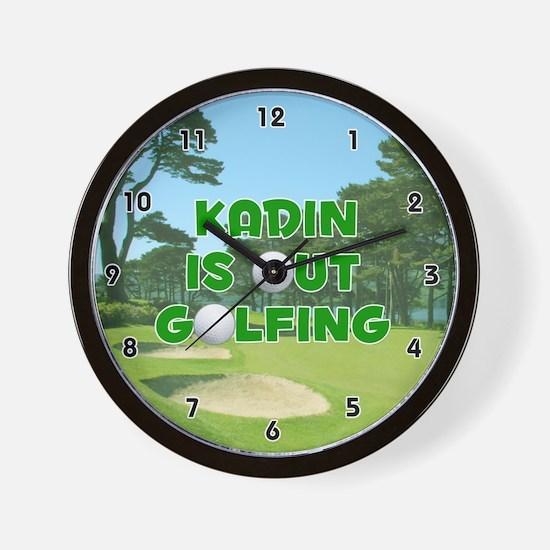 Kadin is Out Golfing (Green) Golf Wall Clock