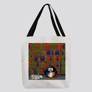 Studious Penguin in Library Polyester Tote Bag