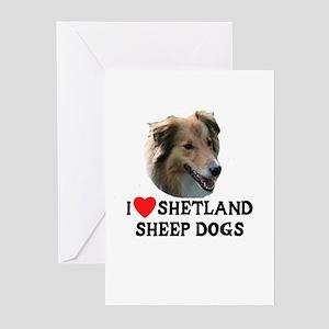 I Love Shetland Sheep Dogs Greeting Cards (Pk of 1