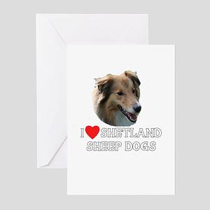 I Love Shetland Sheepdogs Greeting Cards (Pk of 10