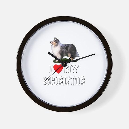 I Love My Sheltie Wall Clock