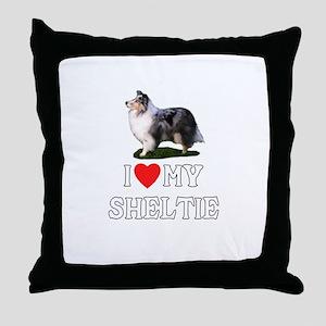 I Love My Sheltie Throw Pillow