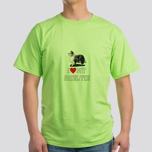 I Love My Sheltie Green T-Shirt