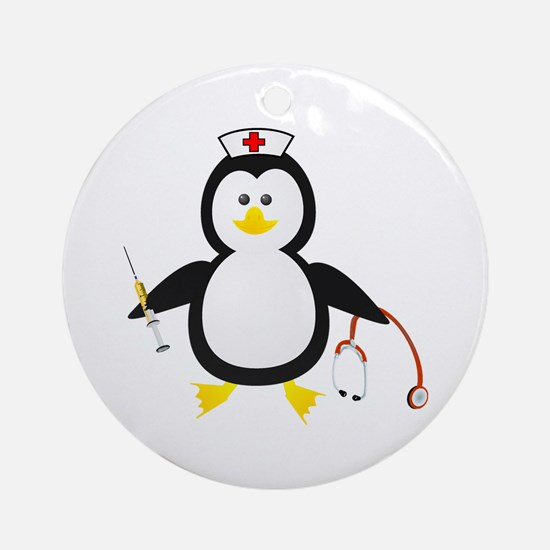 Penguin Nurse Ornament (Round)
