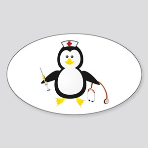 Penguin Nurse Oval Sticker
