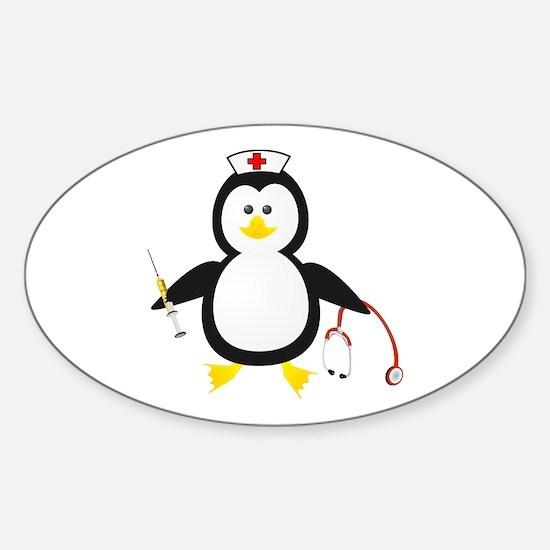 Penguin Nurse Oval Decal