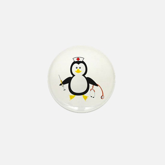 Penguin Nurse Mini Button