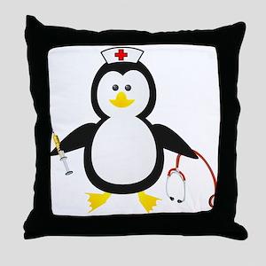 Penguin Nurse Throw Pillow
