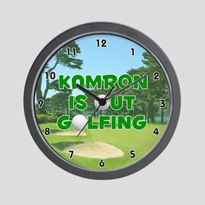 Kamron is Out Golfing (Green) Golf Wall Clock