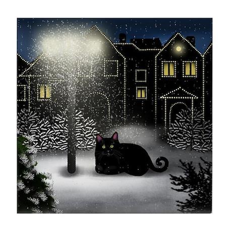 BLACK CAT SNOW CITY Tile Coaster