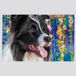 Border Collie Painting 4' X 6' Rug