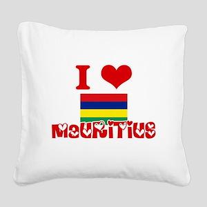 I Love Mauritius Square Canvas Pillow