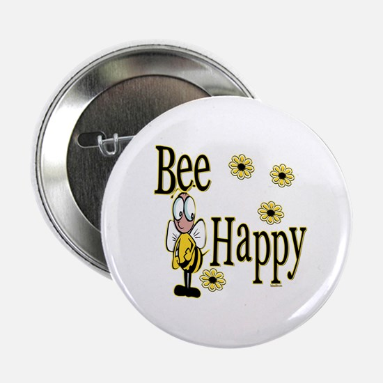 """Bee Happy 2.25"""" Button"""