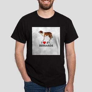 I Love St. Bernards Dark T-Shirt